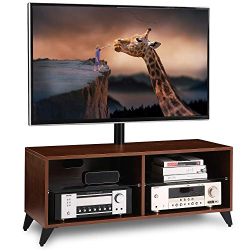 Universal Floor Wood TV Stand Console with Swivel Mount for 32 37 42 47 50 55 60 65 inch LCD LED OLED QLED Flat Panel and Curved Screen TVs Height Adjustable Storage Shelf for Media ,Walnut, TW4002