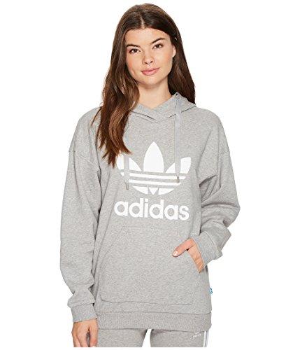 adidas Originals Women's Trefoil Hoodie, Medium Grey Heather/French Terry, XS