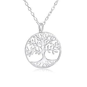 WANDA PLATA Collar Arbol de la Vida para Mujer Plata de Ley 925, Colgante con Cadena de 40 Centímetros de Largo con Caja de Regalo