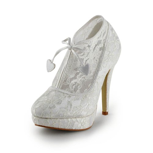 MINITOO TH13132 Womens Stiletto High Heel Round Toe Ivory Lace Evening Party Bridal Wedding Lace Up Ankle Boots 6 UK