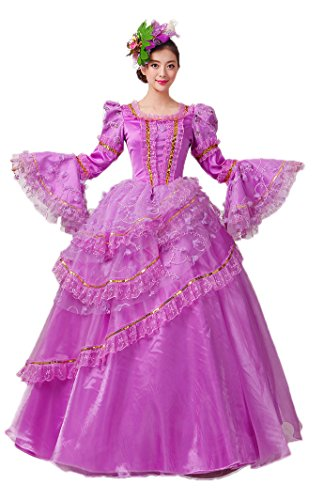 Zukzi Women's Gorgeous Purple Gothic Royal Lolita Dresses with Free Petticoat, Customized (Colonial Gown Costume)