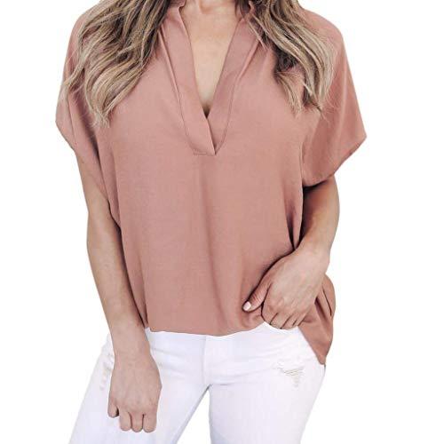 Spcial Cou Haut Shirt Top Uni Branch Femme Courtes Blusen Shirt De Style Mousseline Casual Qualit V Tee Et Irrgulier Mode Elgante Bonne Bouffant Manche Rose Manches ZqCrwxPZE