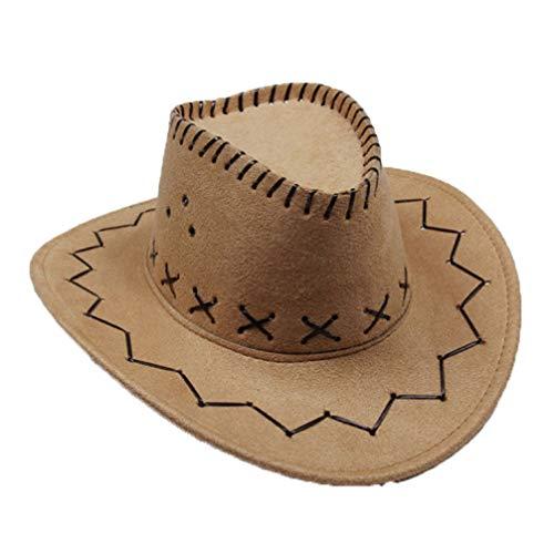 (Wide Brim Western Cowboy Cowgirl Hat Vintage Faux Suede Outback Cap Cattleman Hat Bronze)