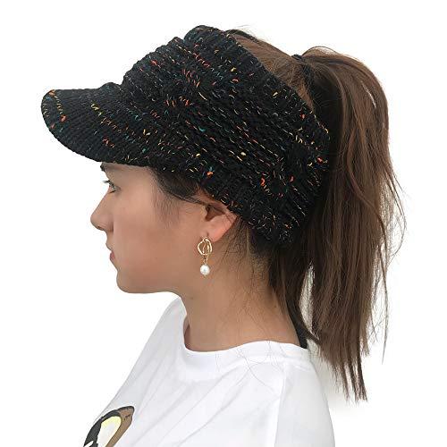 Londony, Women's 816 Hat BeanieTail Warm Knit Messy High Bun Ponytail Visor Beanie Cap