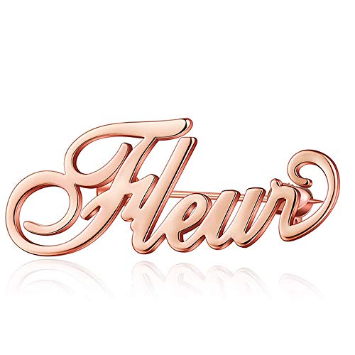 BEICHUANG 3 Color Custom Name Brooch Personalized Rose Gold Silver Jewelry (Rose)