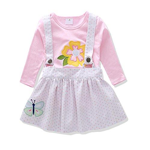 KidsInTime Baby Girl Clothes Set Denim Suspender Skirt Embroidered T-Shirt Bunny Flower Butterfly (5t, (Bunny Girls T-shirt)