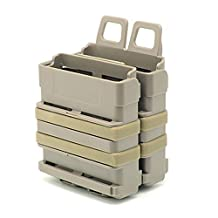 H World Shopping Airsoft 7.62 Double Fast Attach Mag Magazine Pouch Molle Holder Set for M4