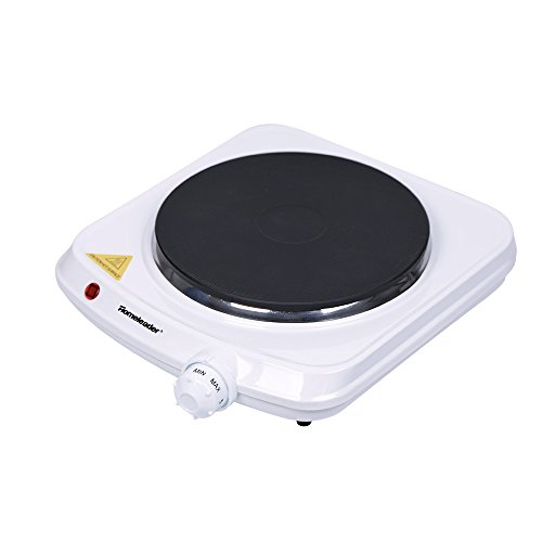Homeleader Hot Plate, Stainless Steel Electric Single Burner, 1000W, White