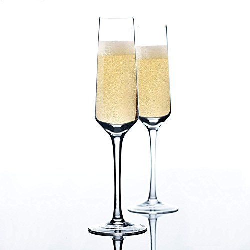 Hand Blown Champagne Flutes -100% Lead Free Crystal Clear Set of 2 Champagne Flute Glasses, Perfect Glass Party Cups ()