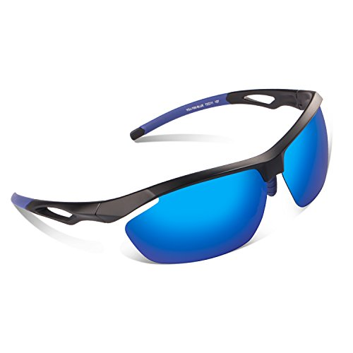 Polarized Sports Sunglasses BUDGET & GOOD for Men Women Sports Shooting Fishing Bicycling Driving Motorcycle Riding Hiking Cruising Swiss- Made Unbreakable Frame TR90, Semi- Rimless, Blue - Brands Swiss Sunglasses