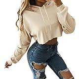 Women Solid Short Hoodie Long Sleeve Shirt Sport Baggy Sweatshirt Crop Top Tunic (M, Beige)