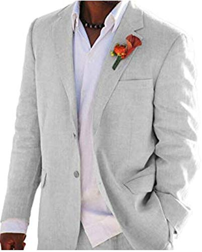 - Grey Summer Beach Wedding Suits 2 Pieces Men Suits Groom Tuxedos 2 Buttons Grey 40 Chest / 34 Waist
