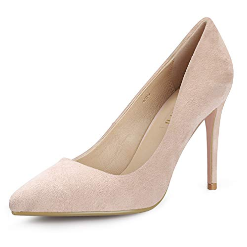 IDIFU Women's IN4 Classic Pointed Toe Stiletto High Heel Dress Pump (Nude Suede, 8.5 B(M) US) (Best Way To Court A Woman)