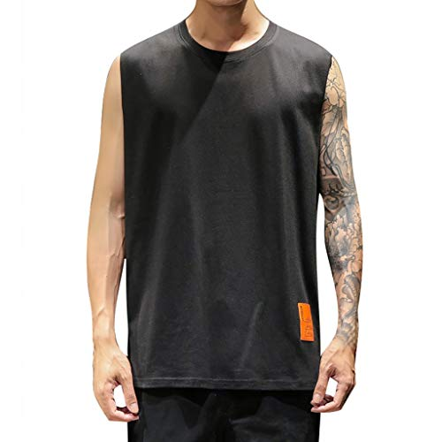 Mens Pima Ribbed - DFHYAR Men's Casual Summer Workout Crew Neck Sleeveless Solid Soft Gym Tank Tops(XXXXX-Large,Black)
