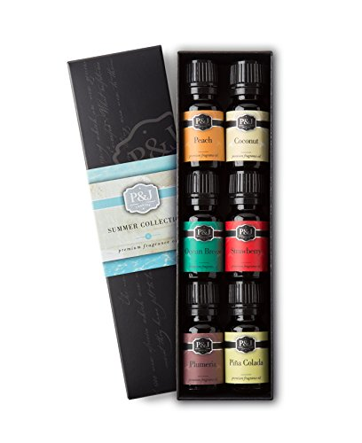 P&J Trading Summer Set of 6 Premium Grade Fragrance Oils - Peach, Strawberry, Plumeria, Coconut, Ocean Breeze, Pina Colada - 10ml - Fresh Peach Fragrance Oil