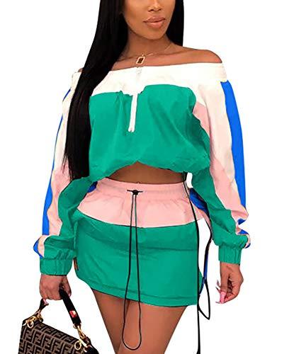 (Women 2 Piece Outfit Long Sleeve Tube Crop Top High Waist Mini Skirt Drawstring Skirt Set )