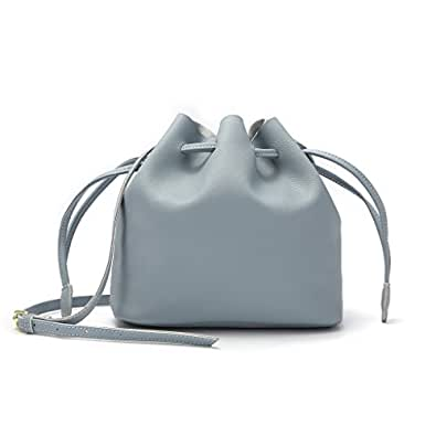 Bucket Bag,YOUNA Genuine Leather Retro Drawstring Bucket Tote Bag For Women With Shoulder Strap Light Blue