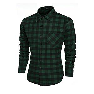 Coofandy Men's Casual Plaid Shirt Slim Fit T-shirts