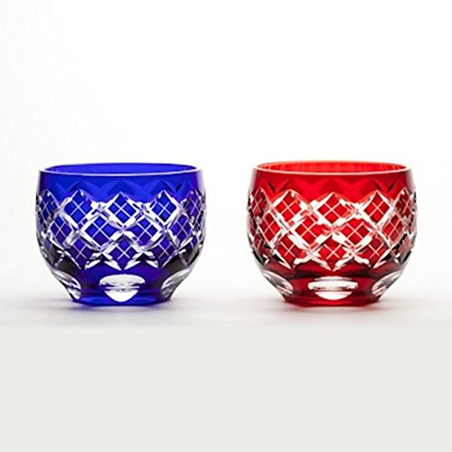 Japanese Edo-Kiriko (Cut Glass) Sake Cups A Pair of Kasane-yarai Pattern by KIMOTO GLASSWARE
