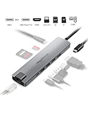 $33 Get Rocketek Multi function USB C Docking Hub, 9-in-1 USB C Adapter with 4K USB C to HDMI, Ethernet Port, 3 USB 3.0 Ports, 2 USB C Ports, SD TF Card Reader, Compatible Mac Pro and Type C Laptops & Devices