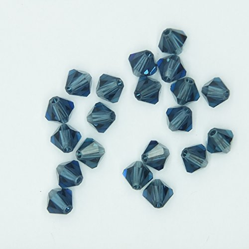 - Montana Blue 4mm Swarovski Crystal Beads. Bicone. Made in Austria. Pack of 20