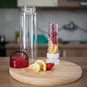 Savvy Infusion Water Bottle - the Original 24 Ounce Fruit Infuser Bottle - Featuring Unique Fully Sealed Leak Proof Twist Cap with Handle - Includes Bonus Recipe Ebook