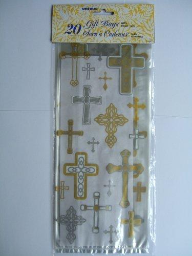 Silver & Gold Cross Religious Cellophane Bags, 20ct -