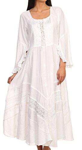 Embroidered Floral Corset (Sakkas 15223 - Mirabel Stonewashed Corset Style Floral Emboridery Kimono Sleeve Dress - White - L/XL)