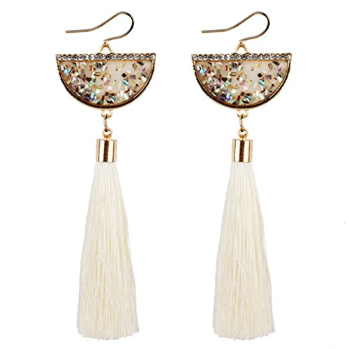 - Women Earrings,Lood Elegant Bohemian Earrings Long Tassel Fringe Dangle Earrings Gifts for Women New,Jewelry Making Charm Kits (White)