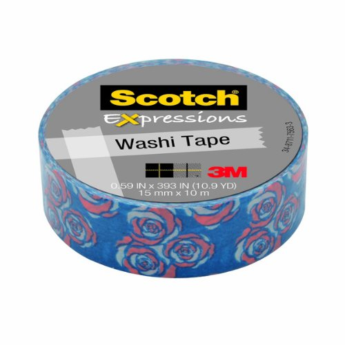 Scotch Expressions Washi Tape, .59-Inches x 393-Inches, Vintage Rose, 6 Rolls/Pack