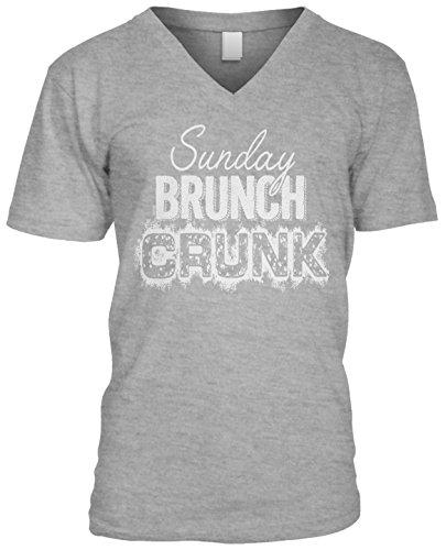 Blittzen Mens V-neck Sunday Brunch Crunk, L, Light Gray