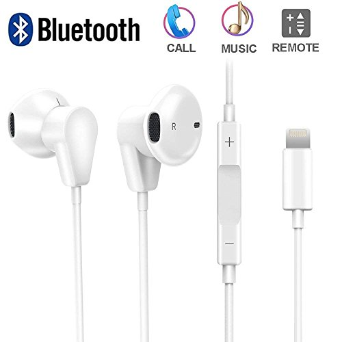 AXELECT Bluetooth Headphones with Mic, Stereo Earphones Compatible for iPhone X XR XS 8/8Plus 7/7Plus, Noise Cancelling Headse, White
