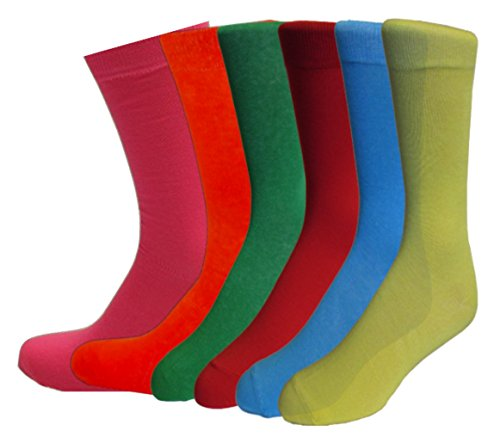 Fine Fit Mens Fancy Solid Color Cotton Socks (6 Pairs) (6 Pair (10-13)) by Fine Fit (Image #1)