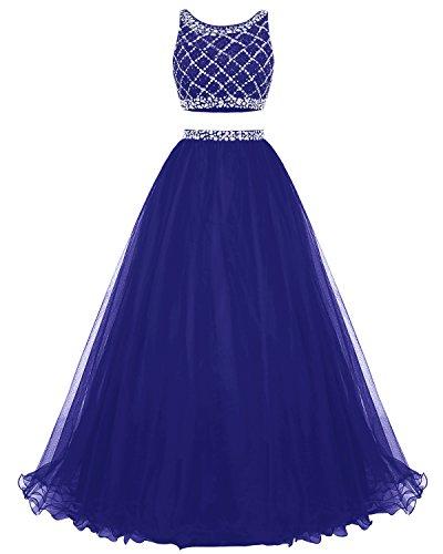 Bridesmay Longue Robe De Bal En Tulle Deux Pièces Robe De Demoiselle D'honneur Robe De Soirée De Perles Bleu Royal