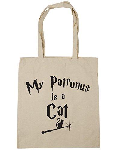 HippoWarehouse My Patronus Is A Cat Tote Shopping Gym Beach Bag 42cm x38cm, 10 litres Natural