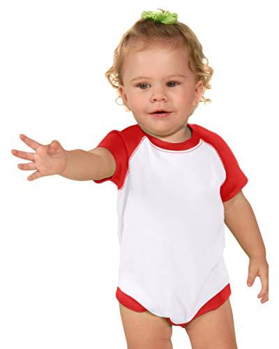 Kavio Infants Rgln S/S Bodysuit (Same 0508), White/Red, 6 Months