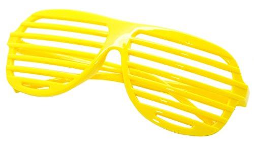 FancyG Shutter Style Party Glass Frame Cool Fashion Eyewear - Yellow (Cool Nerd Glasses)