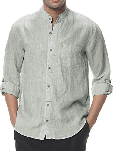Linen Curved - Mens Linen Shirt Casual Button Down Long Sleeve Cotton Curved Hem Lightweight Basic Regular Fit Summer Beach Tops