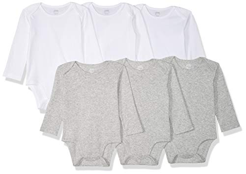 - Amazon Essentials Baby 6-Pack Long-Sleeve Bodysuit, White/Gray Heather, 3-6M