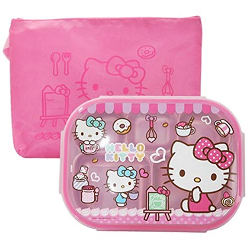 Hello Kitty Stainless Steel Divided Plate, Kids Toddlers Babies Tray, BPA Free, Diet Food Control, Camping Dishes, Compact Serving Platter, 5 Compartment Plate Silver with Lid and Pink Pouch
