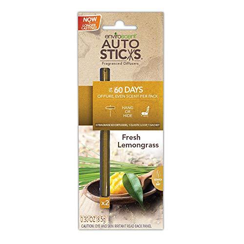 Enviroscents Auto Sticks Natural Car Air Fresheners, 1-Pack with 2 Sticks (Fresh Lemongrass)