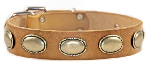 Dean and Tyler  RETRO RULZ , Leather Dog Collar with Brass Oval Hardware Tan Size 71cm by 4cm Fits Neck 66cm to 76cm