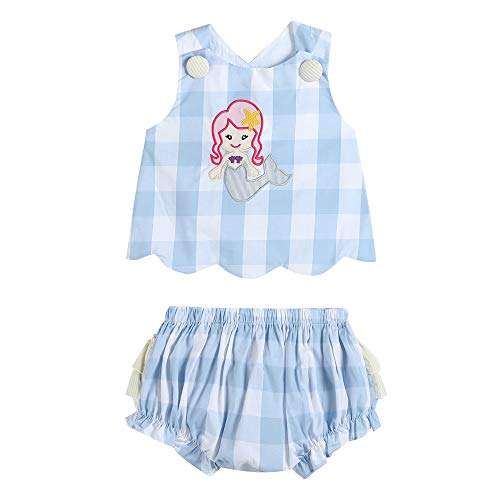 33327011093 Top & Bloomer Set Blue Gingham Mermaid