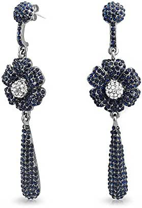 Bling Jewelry Gunmetal Plated Brass Long Crystal Flower Teardrop Earrings