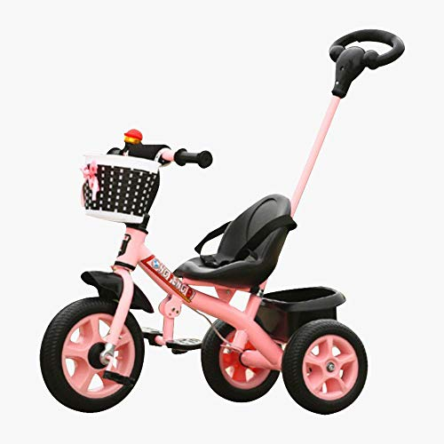 lesgos Baby Tricycle with Push Handle, 3 in 1 Push and Ride Stroller Trike Bike with Storage Bin for Kids, Toddler, Birthday Gifts for 1 2 3 4 5 Years Old, Pink