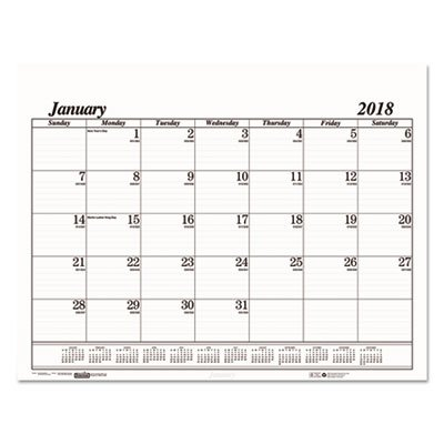 Price comparison product image Recycled One-Color Dated Monthly Desk Pad Calendar Refill, 22w x 17h, 2018