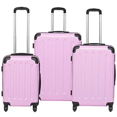 Hardshell 3 Piece Luggage Set Spinner Travel Bag W/ TSA Lock- Pink by tamsun