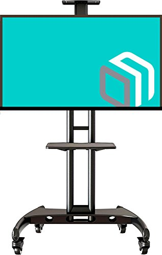 Flat Panel Mobile Cart - Universal Mobile TV Cart TV Stand with Mount for LED LCD Flat Panel Screens 32 to 65-inch up to 100 lbs Black with AV Shelf