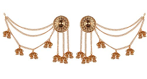 NEW! Touchstone Indian Bollywood Replica Traditional Kashmere Art Faux Pearls Hangings Designer Jewelry Chandelier Earrings In Gold Tone For Women
