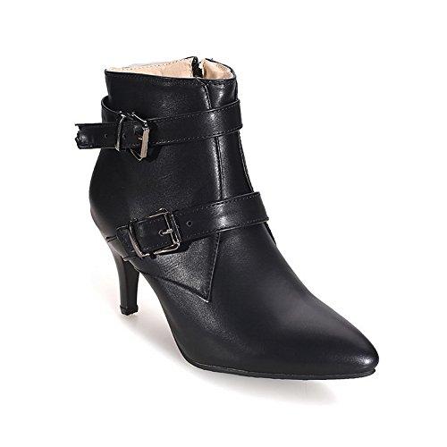 Allhqfashion Dames Pu Blend Materialen Kitten-hakken Laarzen Met Winkle Pinker En Double Breasted Zwart